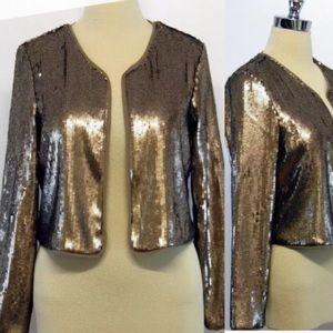 BB DAKOTA Bronze Open Front Sequin Jacket- NWT